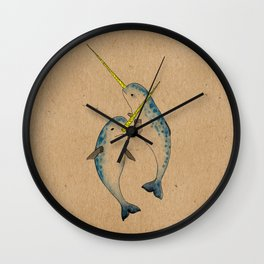 Winter Narwhals Wall Clock