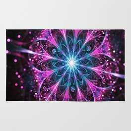 Winter violet glittered Snowflake or flower Background Rug
