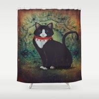 kitty Shower Curtains featuring Kitty by Silvana Massa Art