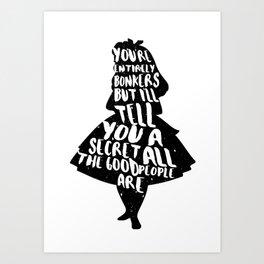 Alice in Wonderland Bonkers Quote Art Print