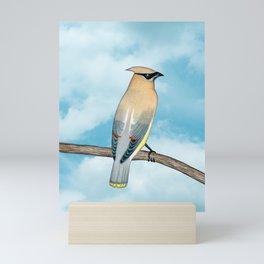 cedar waxwing and blue sky Mini Art Print