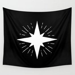 White North Star Shining Wall Tapestry