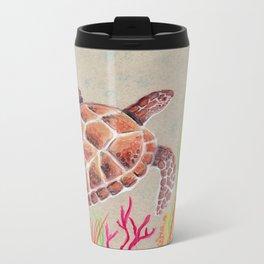 Tan Sea Turtle Metal Travel Mug