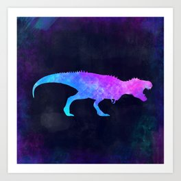 T-REX IN SPACE // Dinosaur Graphic Art // Watercolor Canvas Painting // Modern Minimal Cute Art Print