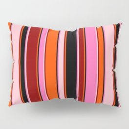 Eye-catching Hot Pink, Black, Red, Dark Red, and Pink Colored Stripes/Lines Pattern Pillow Sham
