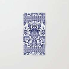 damask blue and white Hand & Bath Towel