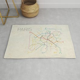 Minimal Paris Subway Map Rug