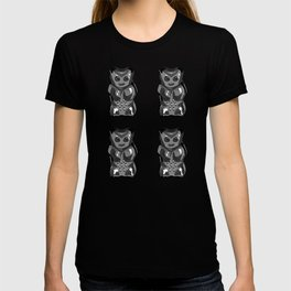 Jelly Beans & Gummy Bears Pattern - black on white T-shirt