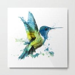 Watercolor Hummingbirds Nursery Humming Bird Metal Print