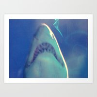jaws Art Prints featuring Jaws by Bunhugger Design