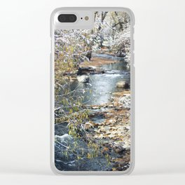 A Creek on a Snowy Day in Boulder, Colorado II Clear iPhone Case
