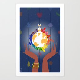 It's A Small World In Your Hands Art Print