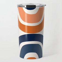 Abstract Shapes 11 in Burnt Orange and Navy Blue Travel Mug