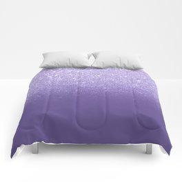 Modern ultra violet faux glitter ombre purple color block Comforters