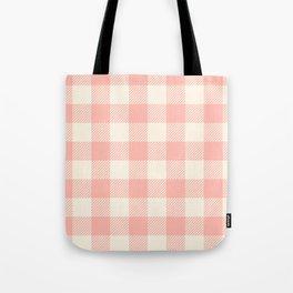 PASTEL GINGHAM 02, blush pink squares Tote Bag