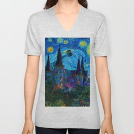 Tardis in Starry night Unisex V-Neck