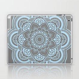 Mandala Flower Gray & Baby Blue Laptop & iPad Skin