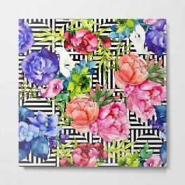 Trendy, Modern Floral Pattern in Pastel Watercolors Metal Print