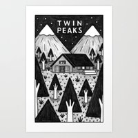 twin peaks Art Prints featuring Twin Peaks by Ana Albero