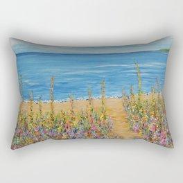 Summer Beach 2, Impressionism Ocean Wall Art, Beach House Decor Rectangular Pillow