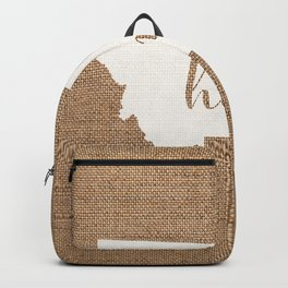 Montana is Home - White on Burlap Backpack