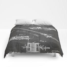 Fishing Rod Patent - Fishing Art - Black Chalkboard Comforters