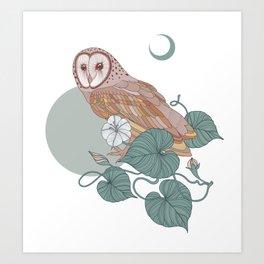 Pink Barn Owl Art Print