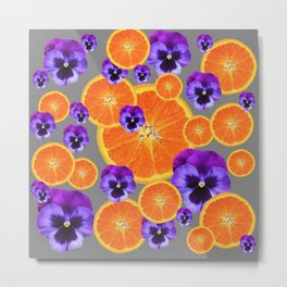 ORANGE SLICES & PURPLE PANSIES MODERN ART Metal Print