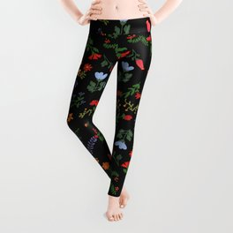 Dark Flower Pattern Leggings