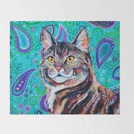 Tabby Cat on Paisley Throw Blanket