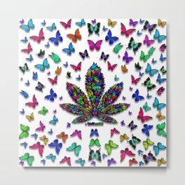 Butterflies Cannabis Leaf 3 Metal Print