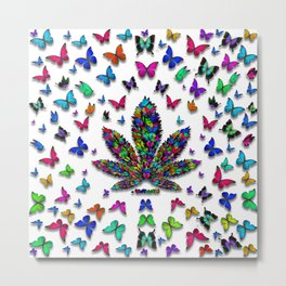 Butterflies Cannabis Leaf 3 Metal Print