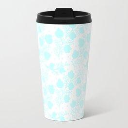 Hand painted watercolor teal polka dots floral pattern Travel Mug