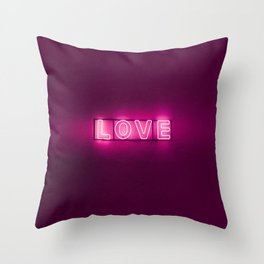 Love Neon Sign Throw Pillow