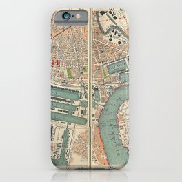 Bacon's Pocket Atlas of London (1921) - 23 Canary Wharf, Millwall, Greenwich iPhone Case