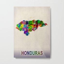 Honduras Map in Watercolor Metal Print