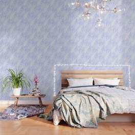 Blue Marble - Shimmery Glittery Cornflower Sky Blue Marble Metallic Wallpaper