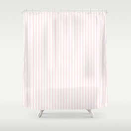 Light Soft Pastel Pink and White Mattress Ticking Shower Curtain