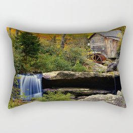 USA Babcock Autumn Nature Waterfalls park forest Stones Seasons Parks Forests stone Rectangular Pillow