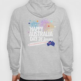 Happy Australia Day 26th January inscription poster with Australian Flag, Australia Map, stars and fireworks. Funny Australia, Patriotic National Holiday Festive Poster for gifts and clothing design. Festival Event decoration. T-Shirt Hoody