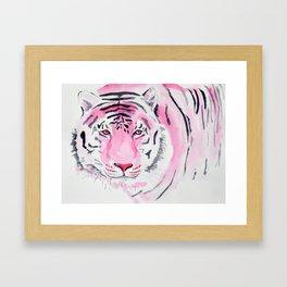 Fuchsia Watercolour Tiger Framed Art Print