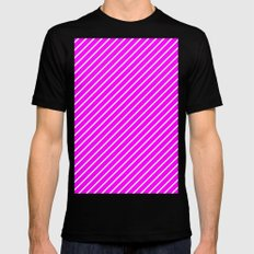 Diagonal Lines (White/Fuchsia) Mens Fitted Tee Black MEDIUM