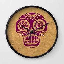 Inca Skull Cornsilk Darkviolet Wall Clock