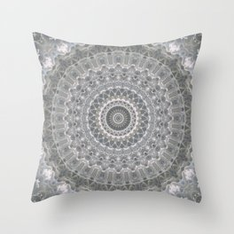 Mandala in white, grey and silver tones Throw Pillow