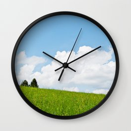 Behind the green hill Wall Clock