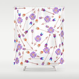 Boho Watercolor Hand Painted Flower and Arrows Shower Curtain