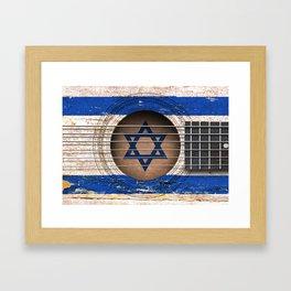 Old Vintage Acoustic Guitar with Israeli Flag Framed Art Print