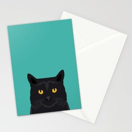 Cat head black cat peeking gifts for cat lovers pet portraits Stationery Cards