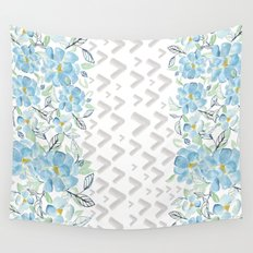 Gray arrows and blue flowers Wall Tapestry