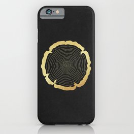 Metallic Gold Tree Ring on Black iPhone Case